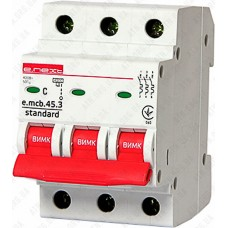 Модульный автоматический выключатель e.mcb.stand.45.3.C6, 3р, 6А, C, 4,5 кА  E.NEXT
