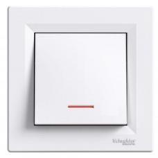 Выключатель ASFORA  1кл. с подсвет. (белый) Schneider