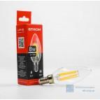 Лампа светодиодная LED (прозрачная) Filament C37 8W 3000K E27 ETRON