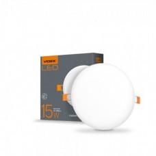 LED светильник безрамочный круглый VIDEX 15W 4100K 220V