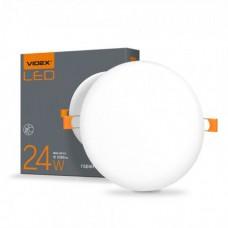 LED светильник безрамочный круглый VIDEX 24W 4100K 220V 20 шт/ящ