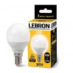 LED ЛАМПА LEBRON L-G45, 6W, Е14, 3000K, 480LM, УГОЛ 220 °