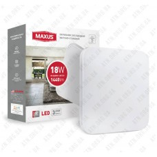 Светильник светодиодный 18W 4100K (тонкий дизайн, IP40) квадрат MAXUS