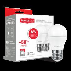 Лампа светодиодная G45 F LED  6Вт 4100К E27 MAXUS