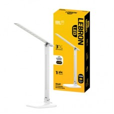 LED лампа настольная LEBRON L-TL-L, 8W, 4100K, ночник, БЕЛАЯ, с блоком питания