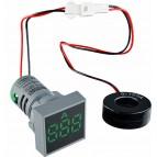Квадратный цифровой измеритель тока ED16-22FAD 0-100A (зеленый)