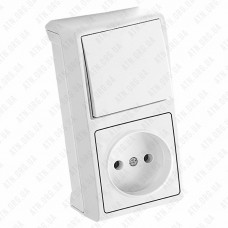 Блок розетка+выключатель Vera открытой установки Viko