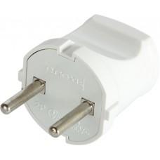 Вилка бытовая e.plug.001.10, без з/к, 10А (белая) E.Next