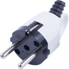 Вилка бытовая e.plug.angle.005.16, с з/к, 16А, угловая, белая, с ручкой