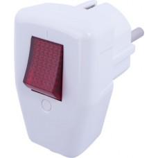 Вилка бытовая e.plug.angle.009.16, с з/к, 16А угловая белая, с выключателем