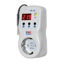 Терморегулятор цифровой ТР-12-2 (0-90 С°) 16А (розеточный) с индикат.