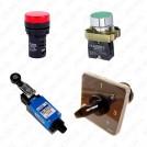 Кнопки, посты, пульты, пакетные и  микропереключатели, выключатели концевые, тумблеры
