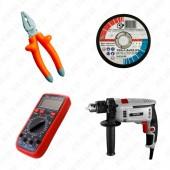 Электро и ручной инструмент, источники питания, ящики и сумки, приборы, комплектующие и расходные материалы, средства индивидуальной защиты