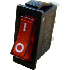 YL202-01 Переключатель 1-клавишный (красный с подсветкой), Аско