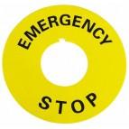 Табличка маркувальна EMERGENCY STOP  жовта кругла для кнопок XB2 АСКО