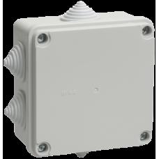 Коробка КМ41234 распаячная для о/п 100х100х50 мм IP55 (RAL7035, 6 гермовводов) IEK
