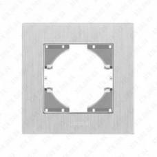 VIDEX BINERA Рамка серебристый алюминий одинарная горизонтальная