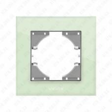 VIDEX BINERA Рамка зеленое стекло одинарная горизонтальная