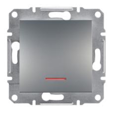 Выключатель ASFORA  1кл. с подсвет. (сталь) Schneider